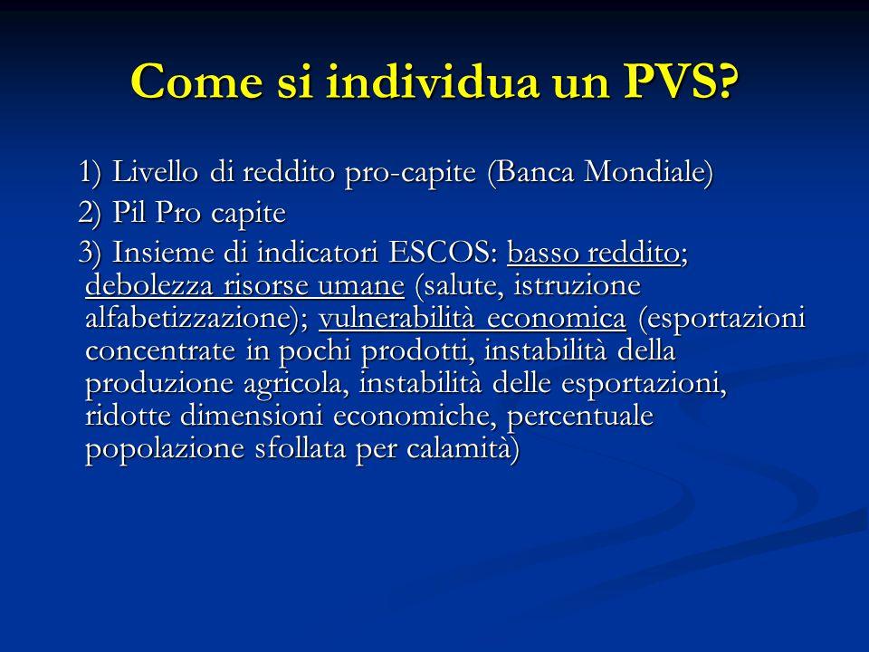Come si individua un PVS? 1) Livello di reddito pro-capite (Banca Mondiale) 1) Livello di reddito pro-capite (Banca Mondiale) 2) Pil Pro capite 2) Pil