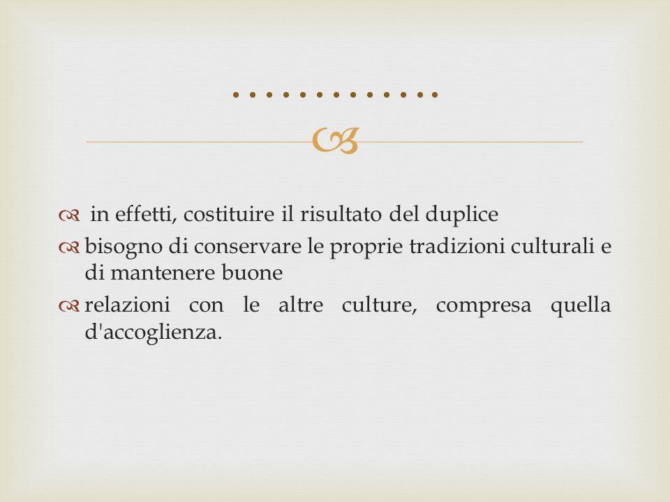   in effetti, costituire il risultato del duplice  bisogno di conservare le proprie tradizioni culturali e di mantenere buone  relazioni con le al