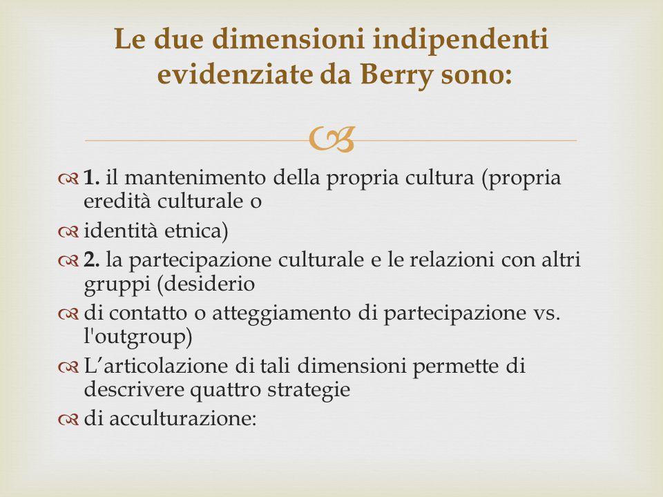   1. il mantenimento della propria cultura (propria eredità culturale o  identità etnica)  2. la partecipazione culturale e le relazioni con altri