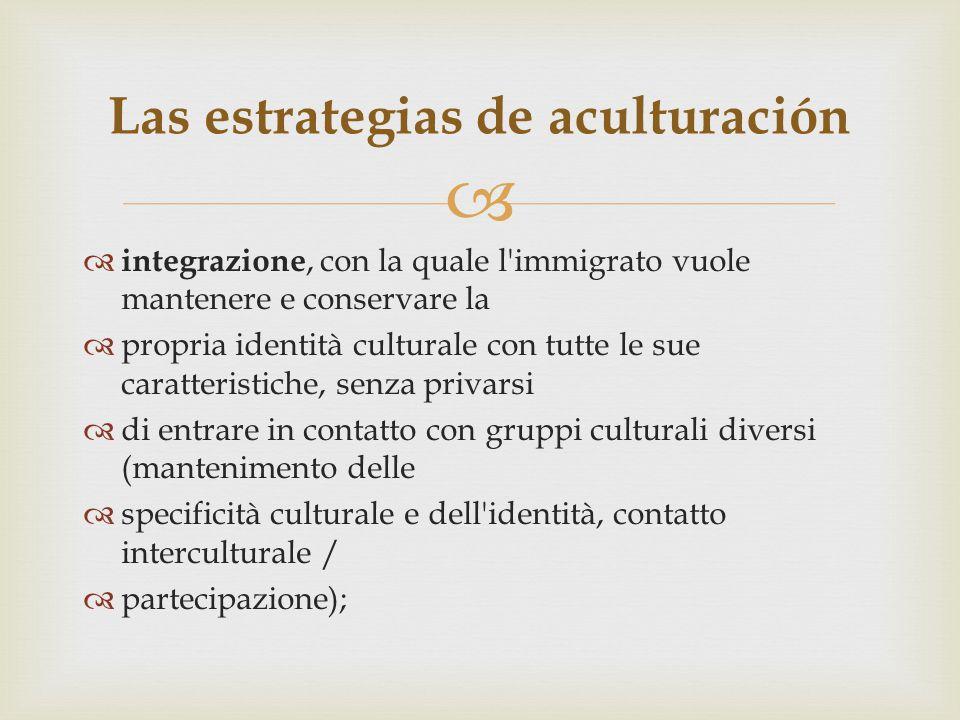   integrazione, con la quale l'immigrato vuole mantenere e conservare la  propria identità culturale con tutte le sue caratteristiche, senza privar