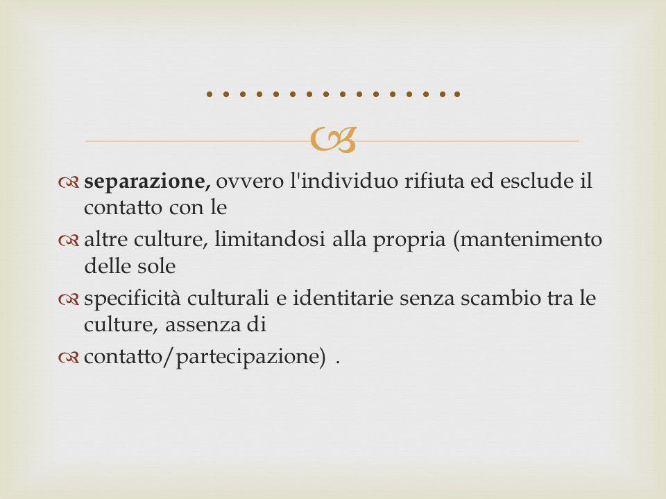   separazione, ovvero l'individuo rifiuta ed esclude il contatto con le  altre culture, limitandosi alla propria (mantenimento delle sole  specifi
