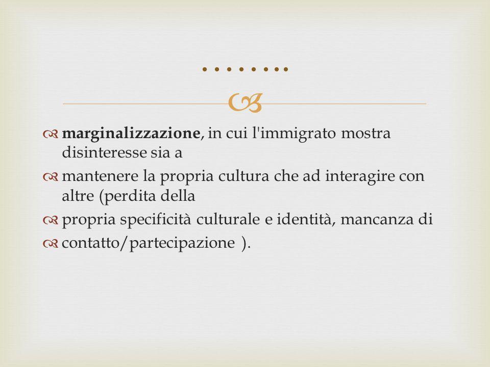   marginalizzazione, in cui l'immigrato mostra disinteresse sia a  mantenere la propria cultura che ad interagire con altre (perdita della  propri