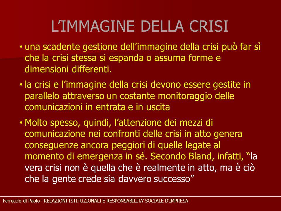 una scadente gestione dell'immagine della crisi può far sì che la crisi stessa si espanda o assuma forme e dimensioni differenti. la crisi e l'immagin