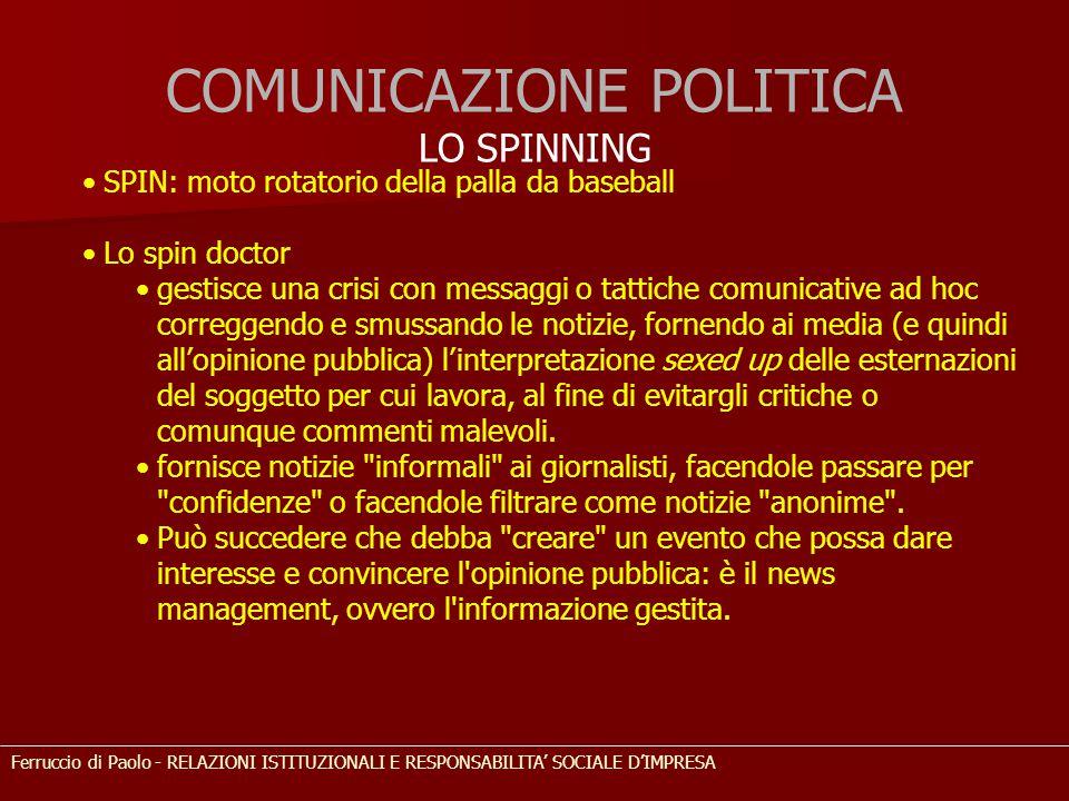 COMUNICAZIONE POLITICA LO SPINNING SPIN: moto rotatorio della palla da baseball Lo spin doctor gestisce una crisi con messaggi o tattiche comunicative