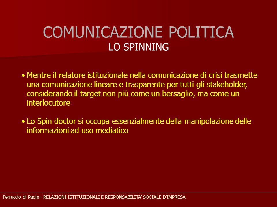 COMUNICAZIONE POLITICA LO SPINNING Mentre il relatore istituzionale nella comunicazione di crisi trasmette una comunicazione lineare e trasparente per