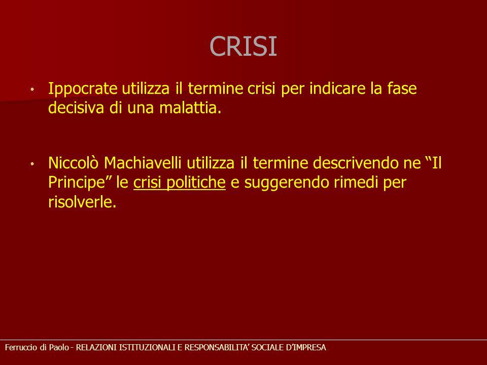 """CRISI Ippocrate utilizza il termine crisi per indicare la fase decisiva di una malattia. Niccolò Machiavelli utilizza il termine descrivendo ne """"Il Pr"""