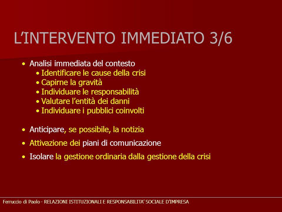 L'INTERVENTO IMMEDIATO 3/6 Analisi immediata del contesto Identificare le cause della crisi Capirne la gravità Individuare le responsabilità Valutare