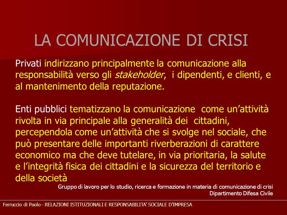 LA COMUNICAZIONE DI CRISI Ferruccio di Paolo - RELAZIONI ISTITUZIONALI E RESPONSABILITA' SOCIALE D'IMPRESA Privati indirizzano principalmente la comun