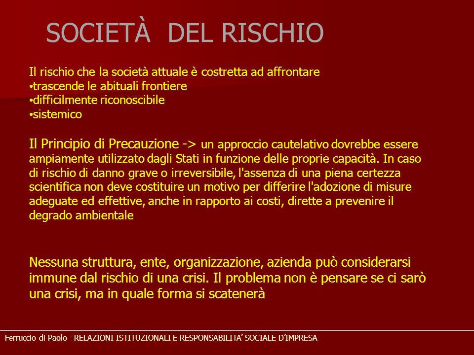 SOCIETÀ DEL RISCHIO Ferruccio di Paolo - RELAZIONI ISTITUZIONALI E RESPONSABILITA' SOCIALE D'IMPRESA Il rischio che la società attuale è costretta ad