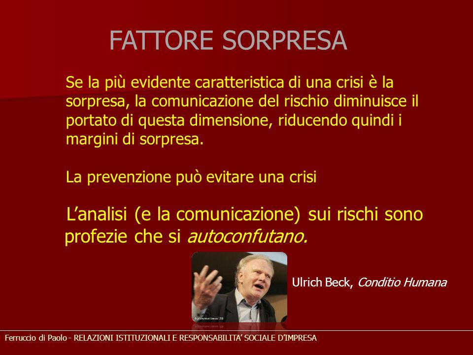 Se la più evidente caratteristica di una crisi è la sorpresa, la comunicazione del rischio diminuisce il portato di questa dimensione, riducendo quind