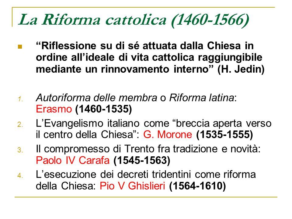 Pio IV (Giovanni Angelo Medici) 1559- 1565 Riprende e conclude il Concilio di Trento (terza ed ultima sessione: 1560-63) Riabilita il cardinale Morone, ormai morto Si avvale della collaborazione del nipote Carlo Borromeo arcivescovo di Milano.