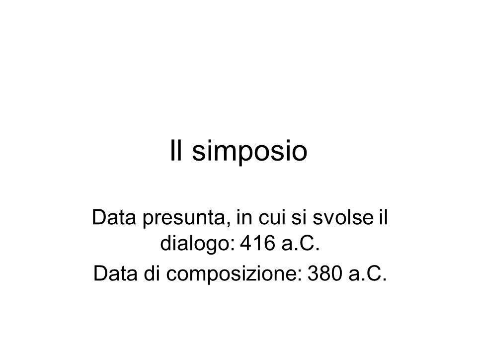 Il simposio Data presunta, in cui si svolse il dialogo: 416 a.C. Data di composizione: 380 a.C.