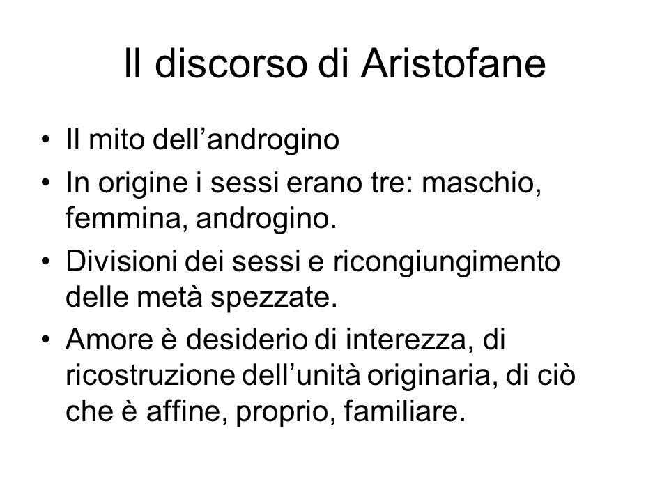 Il discorso di Aristofane Il mito dell'androgino In origine i sessi erano tre: maschio, femmina, androgino. Divisioni dei sessi e ricongiungimento del