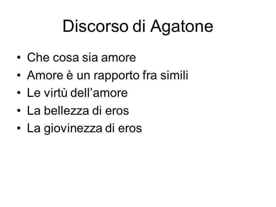 Discorso di Agatone Che cosa sia amore Amore è un rapporto fra simili Le virtù dell'amore La bellezza di eros La giovinezza di eros