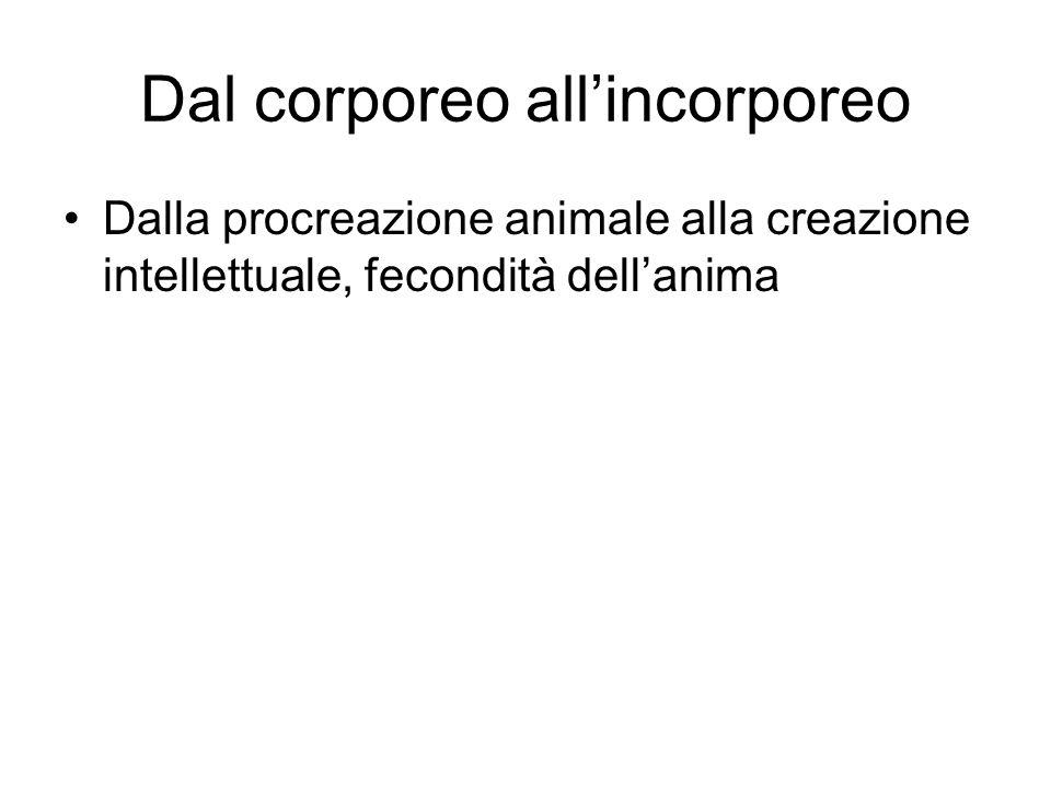 Dal corporeo all'incorporeo Dalla procreazione animale alla creazione intellettuale, fecondità dell'anima
