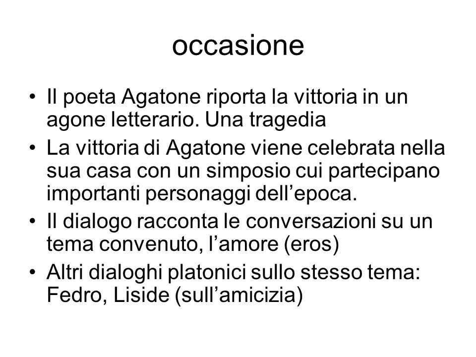 occasione Il poeta Agatone riporta la vittoria in un agone letterario. Una tragedia La vittoria di Agatone viene celebrata nella sua casa con un simpo