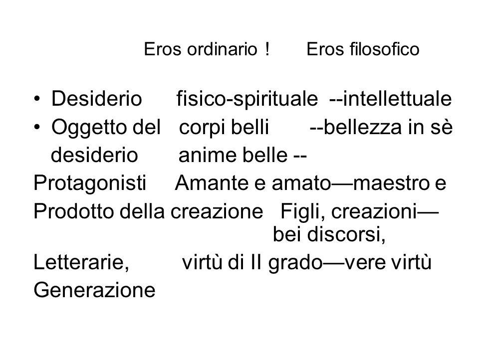 Eros ordinario ! Eros filosofico Desiderio fisico-spirituale --intellettuale Oggetto del corpi belli --bellezza in sè desiderio anime belle -- Protago