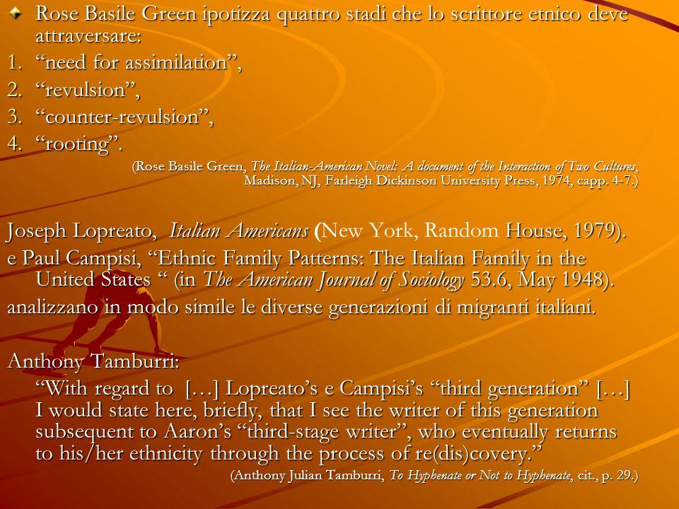 """Rose Basile Green ipotizza quattro stadi che lo scrittore etnico deve attraversare: 1.""""need for assimilation"""", 2.""""revulsion"""", 3.""""counter-revulsion"""", 4"""