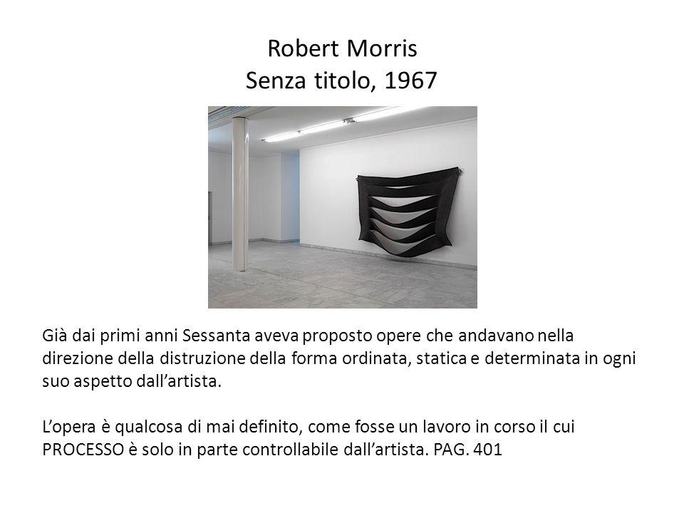 Robert Morris Senza titolo, 1967 Già dai primi anni Sessanta aveva proposto opere che andavano nella direzione della distruzione della forma ordinata,
