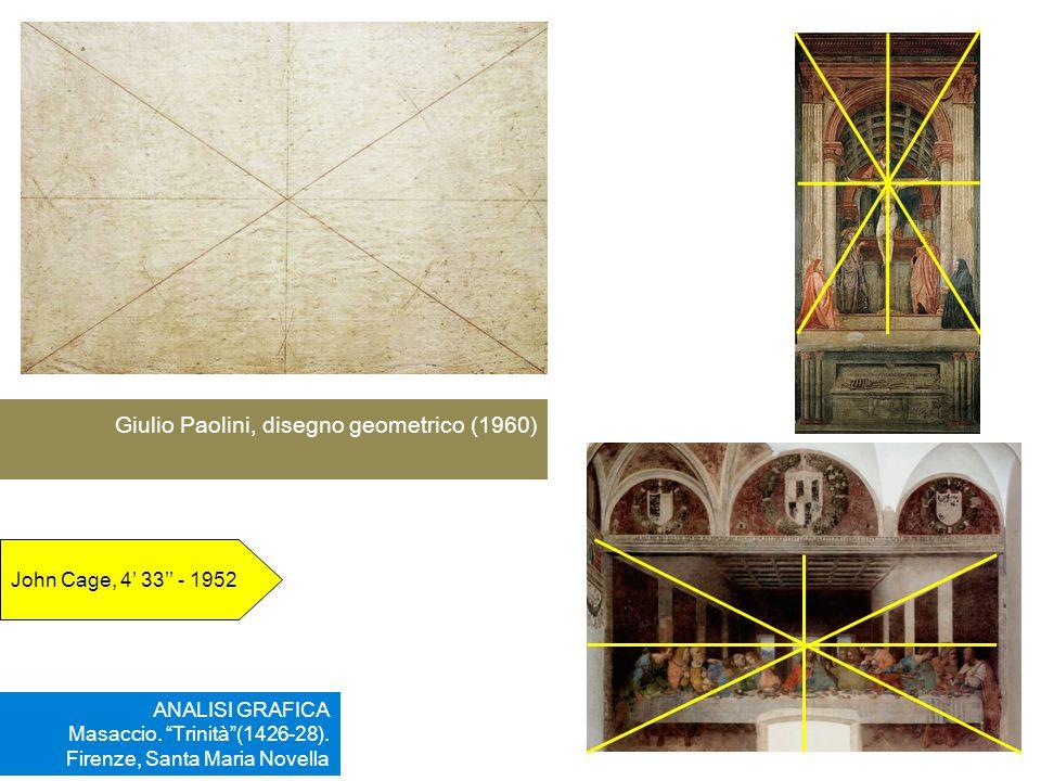 """ANALISI GRAFICA Masaccio. """"Trinità""""(1426-28). Firenze, Santa Maria Novella Giulio Paolini, disegno geometrico (1960) John Cage, 4' 33'' - 1952"""
