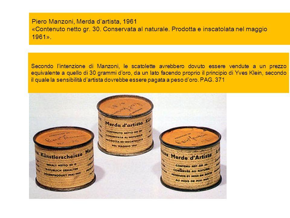 Piero Manzoni, Merda d'artista, 1961 «Contenuto netto gr. 30. Conservata al naturale. Prodotta e inscatolata nel maggio 1961». Secondo l'intenzione di