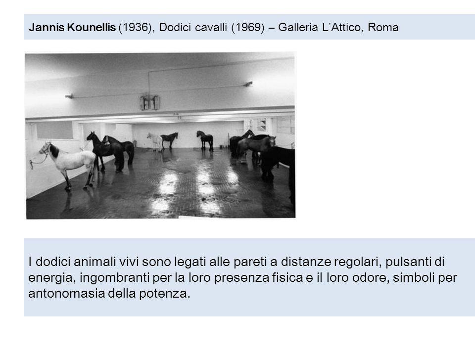 Jannis Kounellis (1936), Dodici cavalli (1969) – Galleria L'Attico, Roma I dodici animali vivi sono legati alle pareti a distanze regolari, pulsanti d