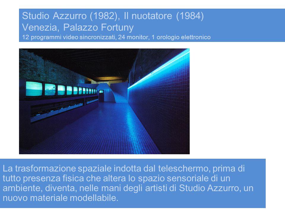 Studio Azzurro (1982), Il nuotatore (1984) Venezia, Palazzo Fortuny 12 programmi video sincronizzati, 24 monitor, 1 orologio elettronico La trasformaz
