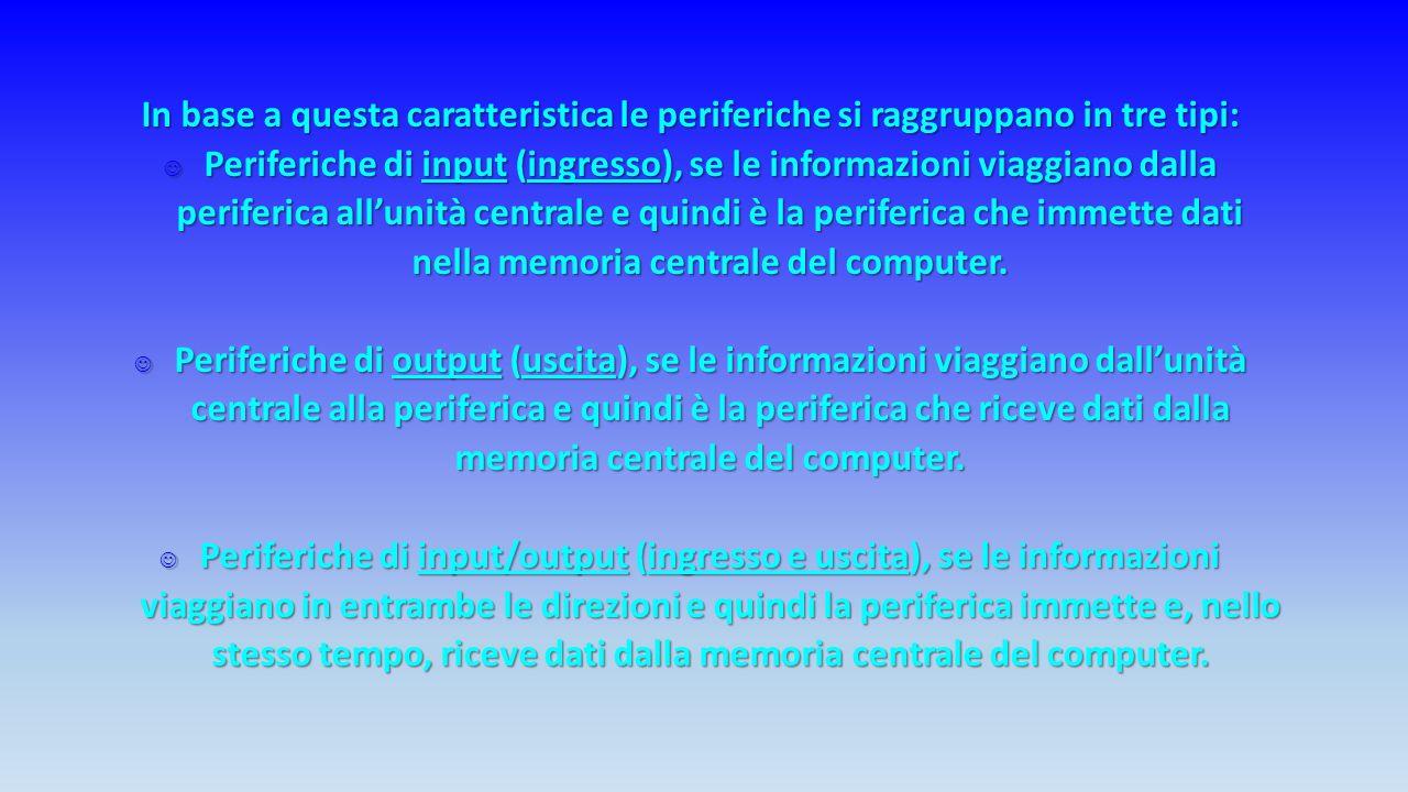 I vari componenti collegati al computer prendono il nome di periferiche.