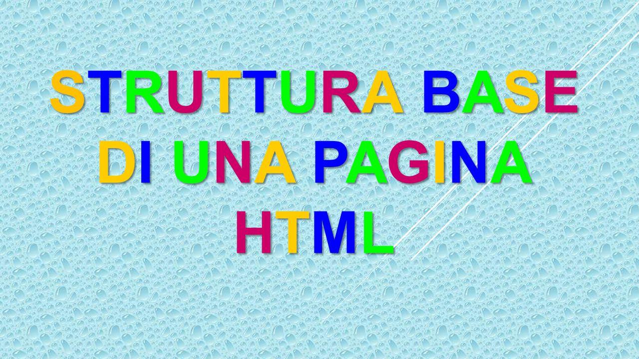 Un documento HTML comincia sempre con il tag e finisce con il tag.