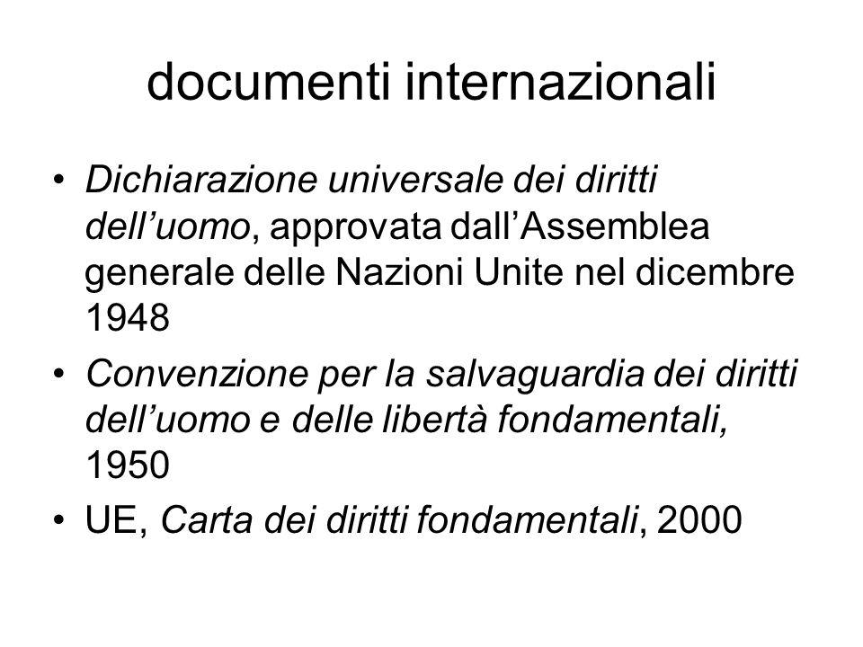 documenti internazionali Dichiarazione universale dei diritti dell'uomo, approvata dall'Assemblea generale delle Nazioni Unite nel dicembre 1948 Convenzione per la salvaguardia dei diritti dell'uomo e delle libertà fondamentali, 1950 UE, Carta dei diritti fondamentali, 2000
