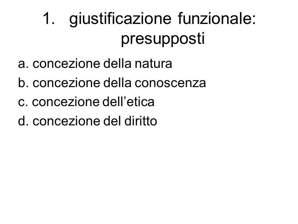 1.giustificazione funzionale: presupposti a.concezione della natura b.