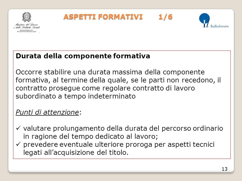 ASPETTI FORMATIVI 1/6 13 Durata della componente formativa Occorre stabilire una durata massima della componente formativa, al termine della quale, se