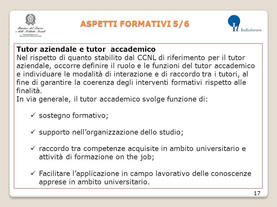 ASPETTI FORMATIVI 5/6 17 Tutor aziendale e tutor accademico Nel rispetto di quanto stabilito dal CCNL di riferimento per il tutor aziendale, occorre d