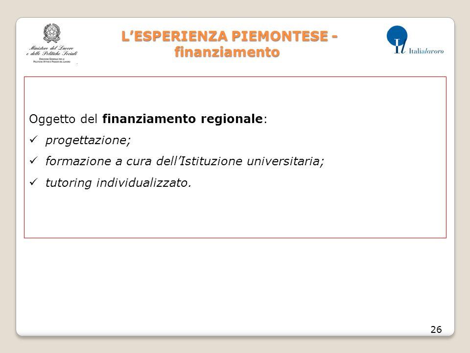 L'ESPERIENZA PIEMONTESE - finanziamento L'ESPERIENZA PIEMONTESE - finanziamento 26 Oggetto del finanziamento regionale: progettazione; formazione a cura dell'Istituzione universitaria; tutoring individualizzato.