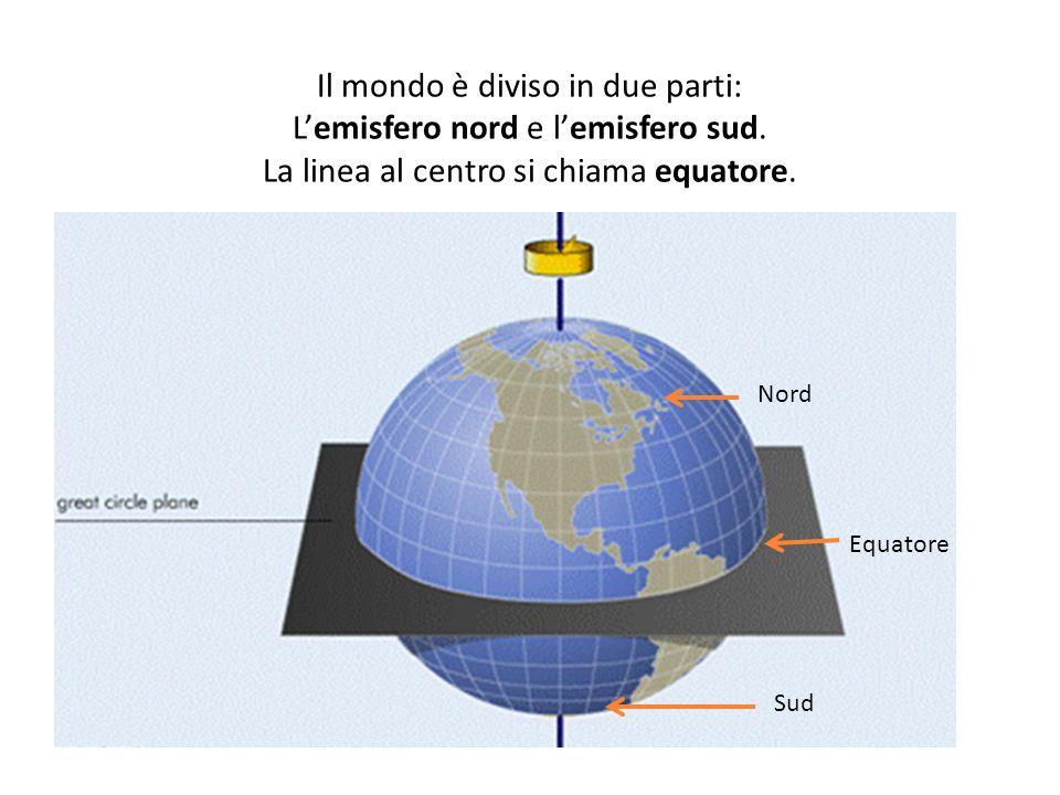 Il mondo è diviso in due parti: L'emisfero nord e l'emisfero sud.