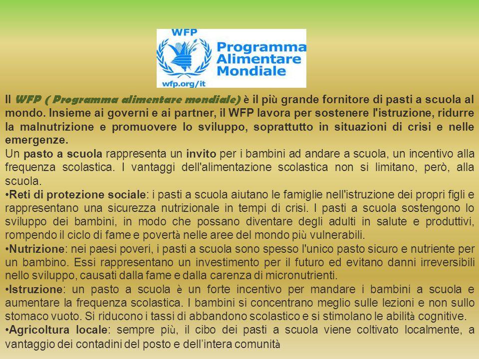 Il WFP ( Programma alimentare mondiale) è il pi ù grande fornitore di pasti a scuola al mondo.