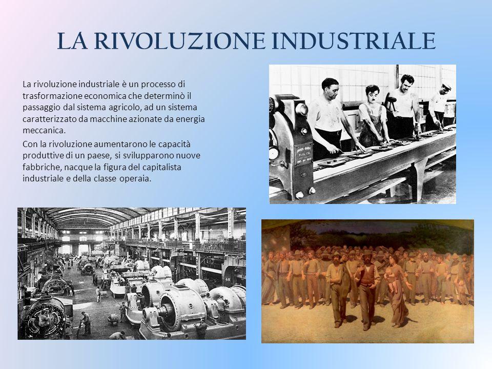 LA RIVOLUZIONE INDUSTRIALE La rivoluzione industriale è un processo di trasformazione economica che determinò il passaggio dal sistema agricolo, ad un