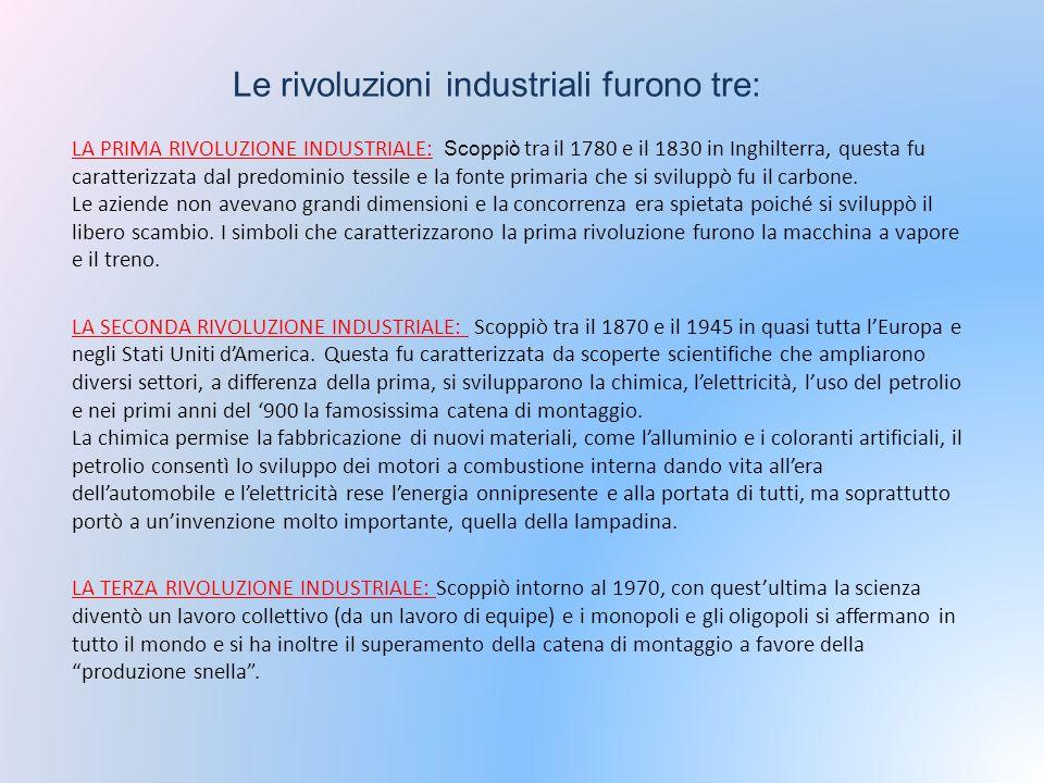 Le rivoluzioni industriali furono tre: LA PRIMA RIVOLUZIONE INDUSTRIALE: Scoppiò tra il 1780 e il 1830 in Inghilterra, questa fu caratterizzata dal pr