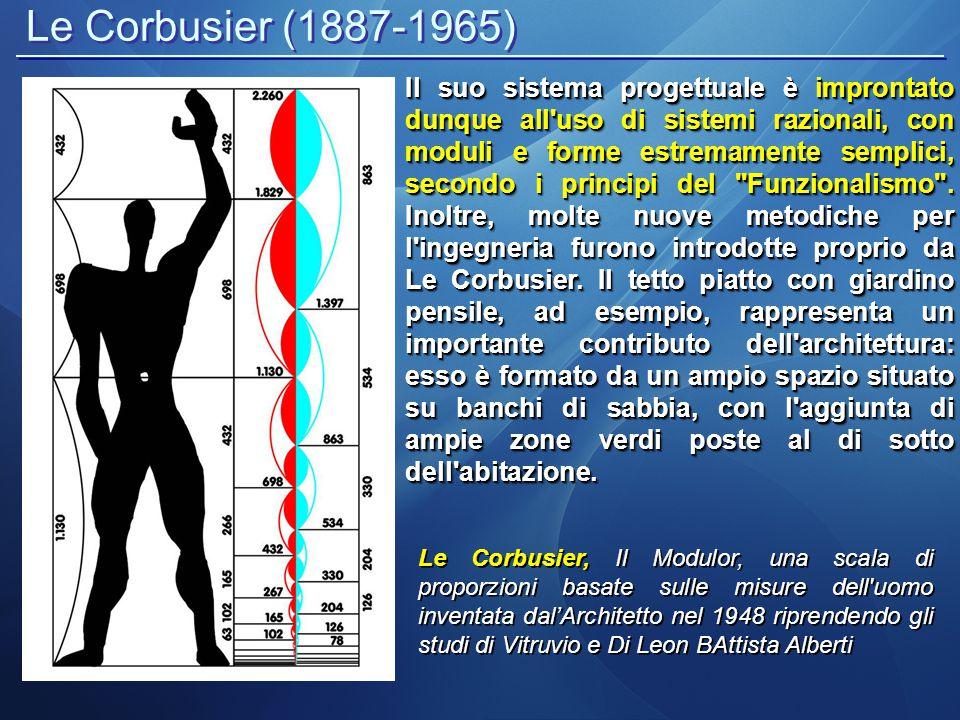 Le Corbusier (1887-1965) La Cappella di Notre- Dame-Du-Haut Le Corbusier, La Cappella di Notre- Dame-Du-Haut, Rochamp 1950/54 Nella sua infaticabile sperimentazione riesce anche a toccare gli estremi opposti in una varietà di linguaggi plastici, come testimoniano le villas La Roche-Jeanneret e Savoye ( 1929/31), l unite d abitation di Marsiglia (1947/52), La Cappella di Notre-Dame-Du-Haut sulla sommità di una collina che domina la borgata di Ronchamp( 1950/54), La Maison De L homme a Zurigo e L ospedale di Venezia.