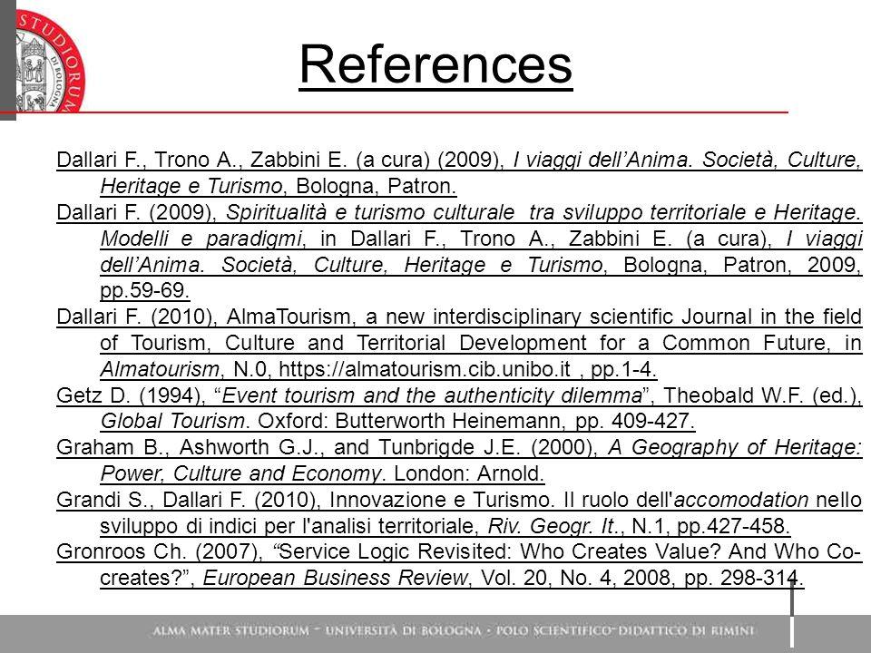 References Dallari F., Trono A., Zabbini E. (a cura) (2009), I viaggi dell'Anima.