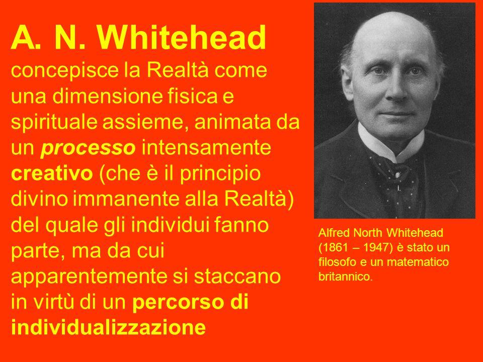 A. N. Whitehead concepisce la Realtà come una dimensione fisica e spirituale assieme, animata da un processo intensamente creativo (che è il principio