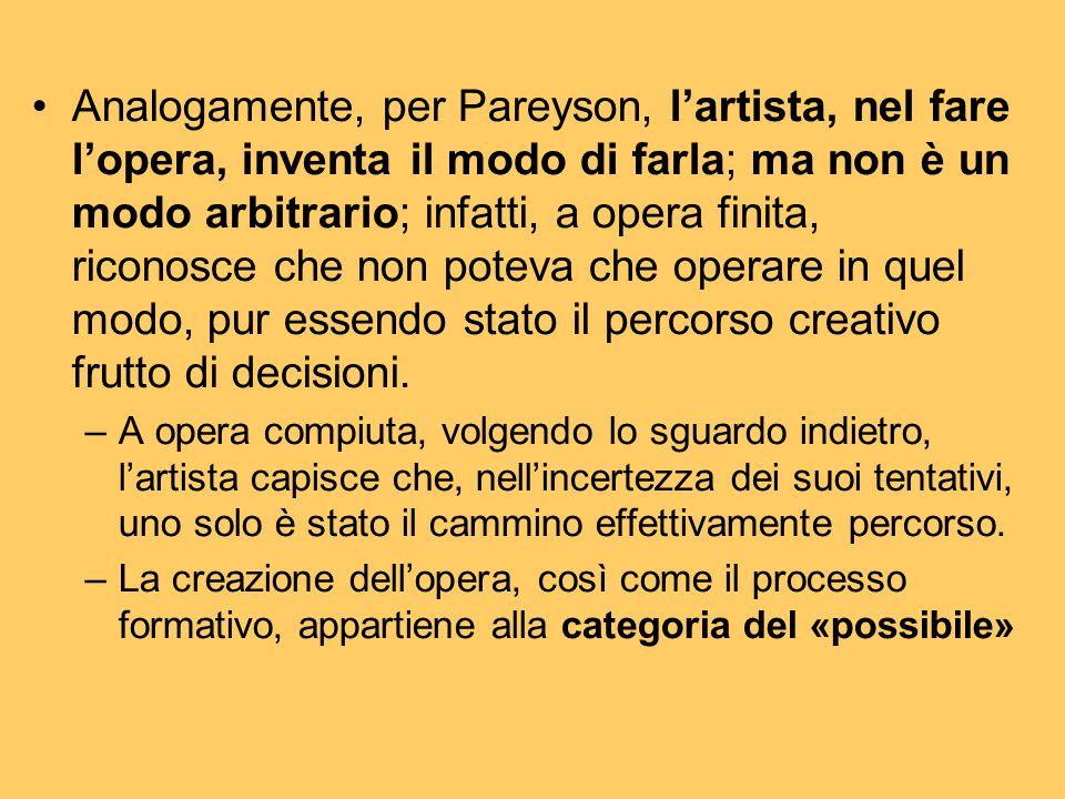 Analogamente, per Pareyson, l'artista, nel fare l'opera, inventa il modo di farla; ma non è un modo arbitrario; infatti, a opera finita, riconosce che