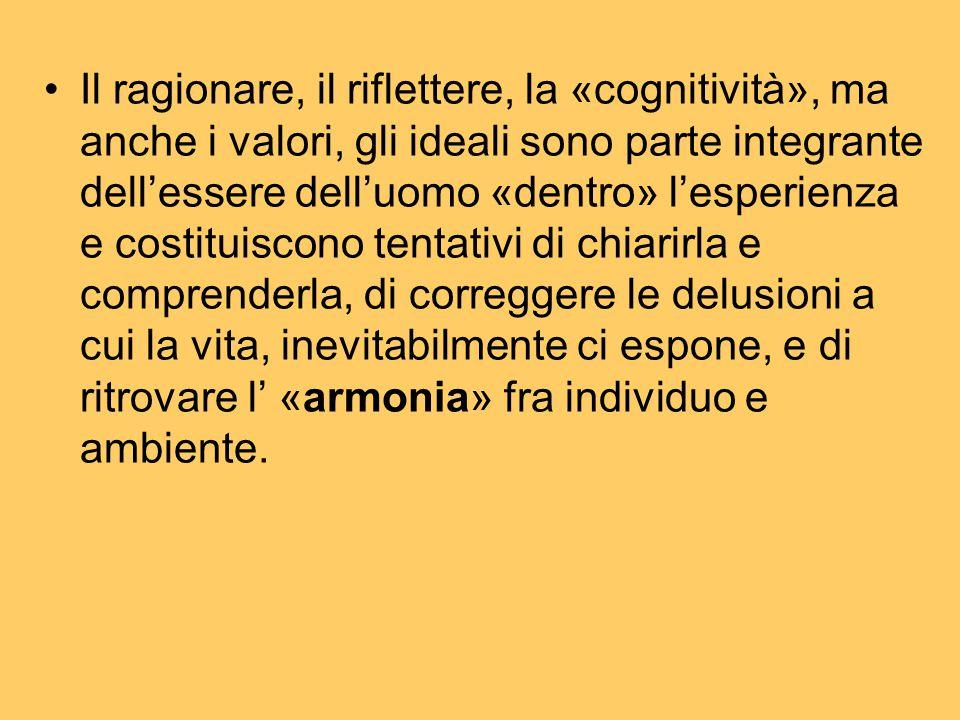 Il ragionare, il riflettere, la «cognitività», ma anche i valori, gli ideali sono parte integrante dell'essere dell'uomo «dentro» l'esperienza e costi