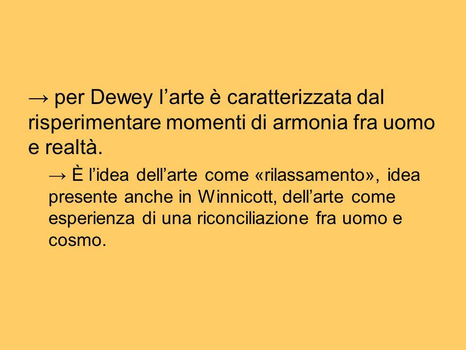 → per Dewey l'arte è caratterizzata dal risperimentare momenti di armonia fra uomo e realtà. → È l'idea dell'arte come «rilassamento», idea presente a