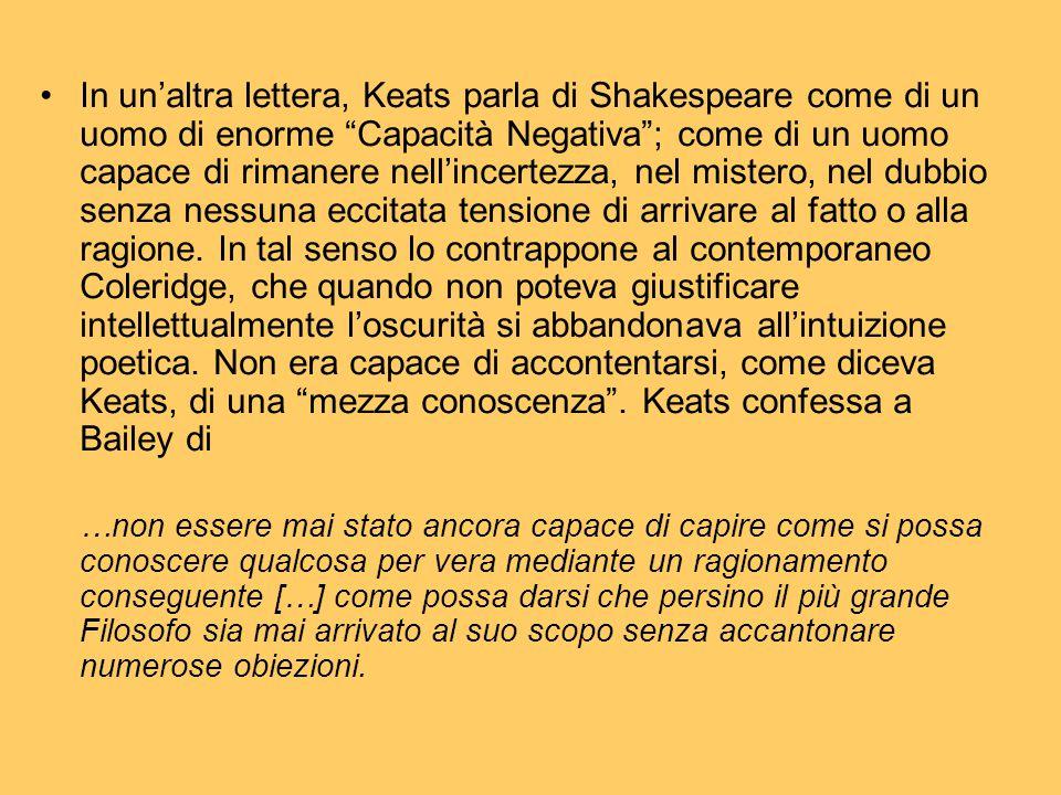 """In un'altra lettera, Keats parla di Shakespeare come di un uomo di enorme """"Capacità Negativa""""; come di un uomo capace di rimanere nell'incertezza, nel"""