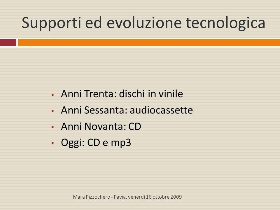 Supporti ed evoluzione tecnologica  Anni Trenta: dischi in vinile  Anni Sessanta: audiocassette  Anni Novanta: CD  Oggi: CD e mp3 Mara Pizzochero