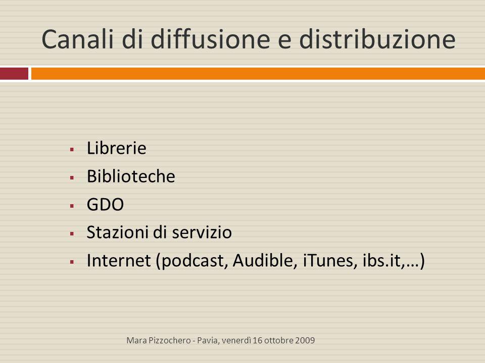 Canali di diffusione e distribuzione  Librerie  Biblioteche  GDO  Stazioni di servizio  Internet (podcast, Audible, iTunes, ibs.it,…) Mara Pizzoc