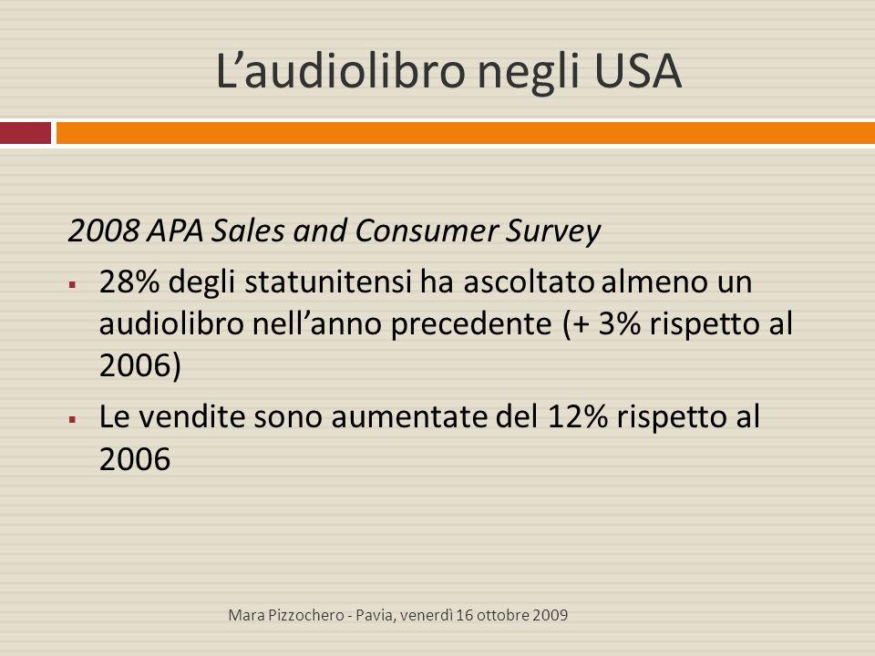 L'audiolibro negli USA 2008 APA Sales and Consumer Survey  28% degli statunitensi ha ascoltato almeno un audiolibro nell'anno precedente (+ 3% rispet