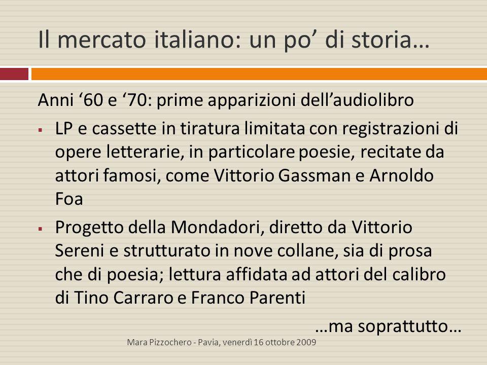 Il mercato italiano: un po' di storia… Anni '60 e '70: prime apparizioni dell'audiolibro  LP e cassette in tiratura limitata con registrazioni di ope