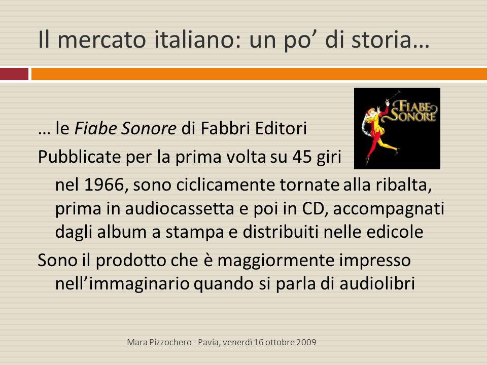 Il mercato italiano: un po' di storia… … le Fiabe Sonore di Fabbri Editori Pubblicate per la prima volta su 45 giri nel 1966, sono ciclicamente tornat